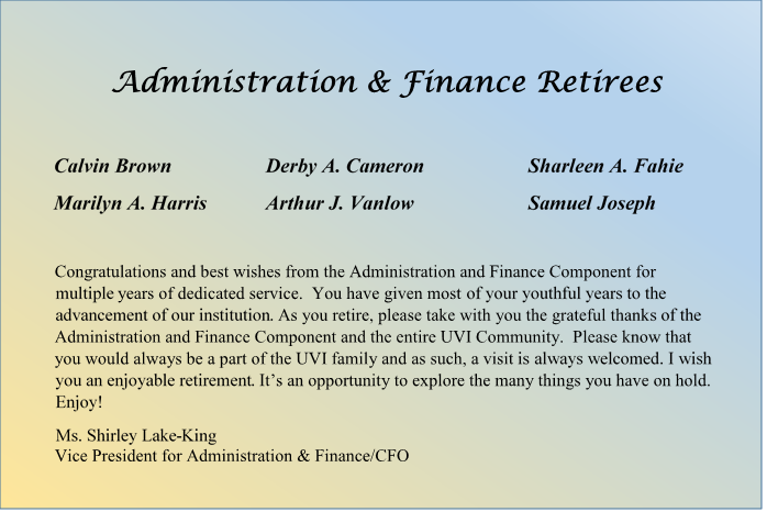 Administration and Finance Retirees