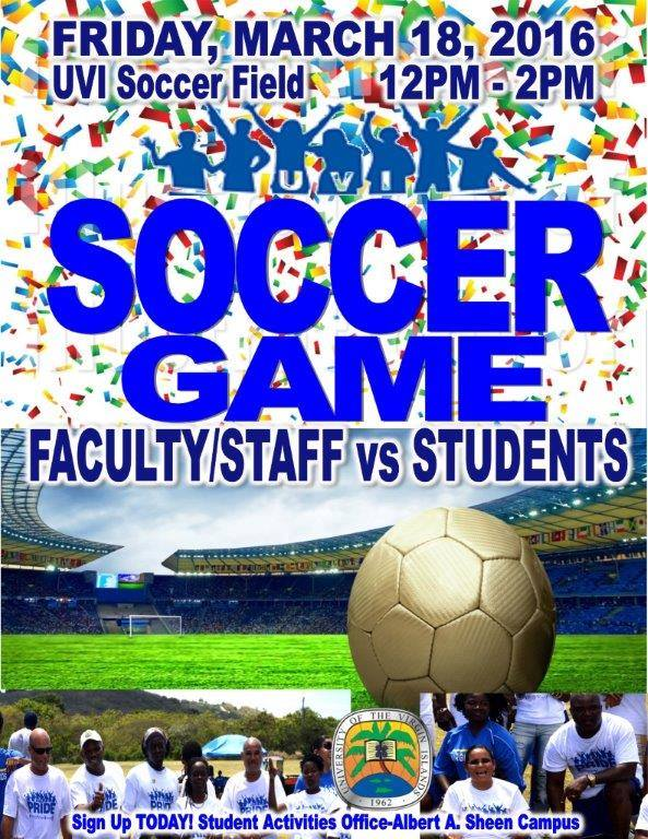 Celebrate UVI Pride by participating in the employees vs students soccer game