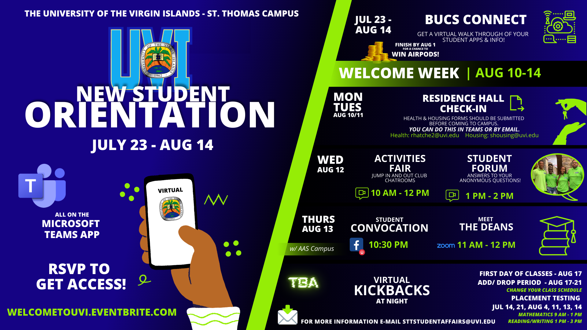 Virtual New Student Orientation Flyer