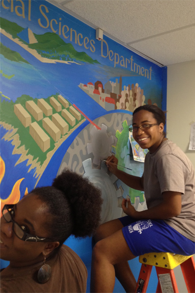 Social Science Mural with Student Artist