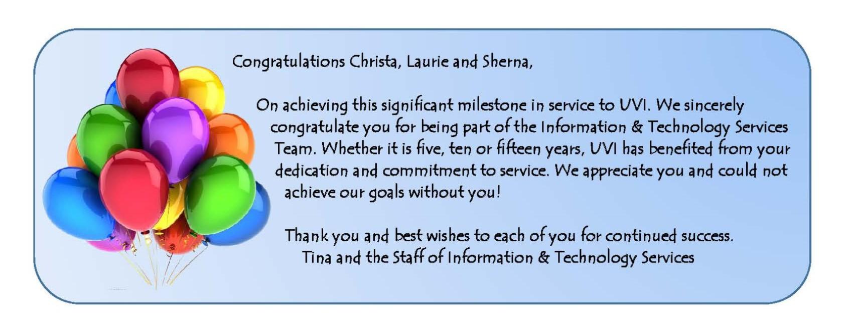 2015 Service Awards Congratulatory Remarks