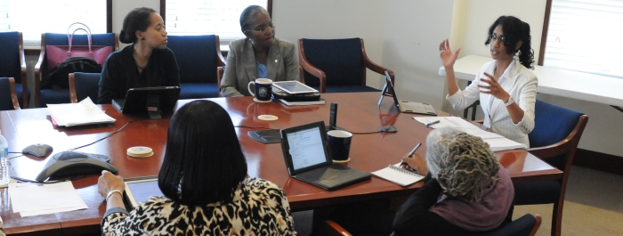 A brief discussion with  Marsha Laurencin during a meeting.
