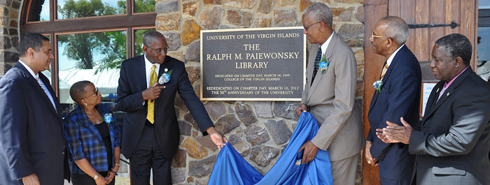Presiding over rededication of Paiewonsky Library.