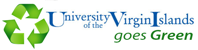 UVI Goes Green banner with a green recycling graphic