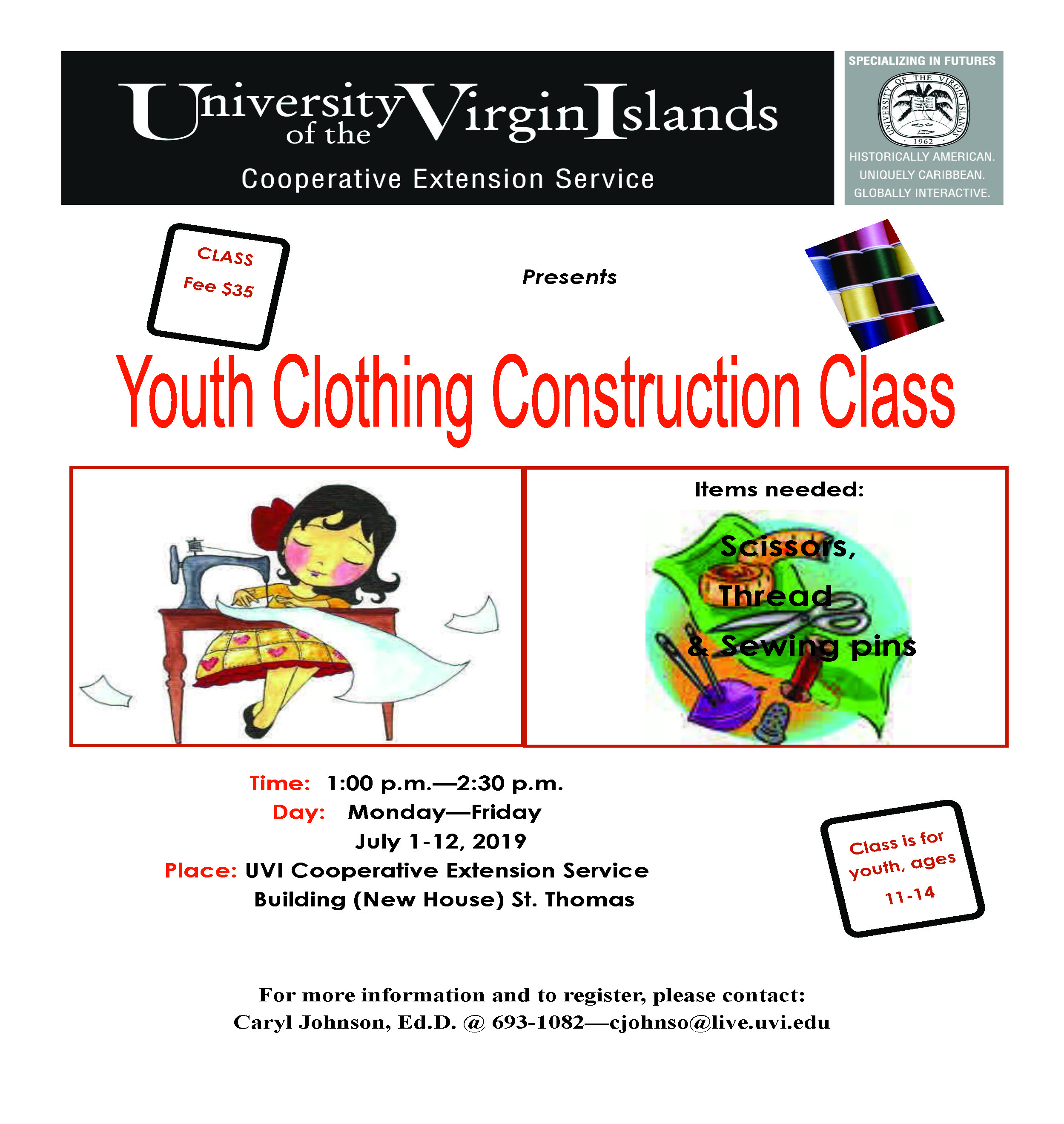 Summer Youth Sewing Class Flyer 2019
