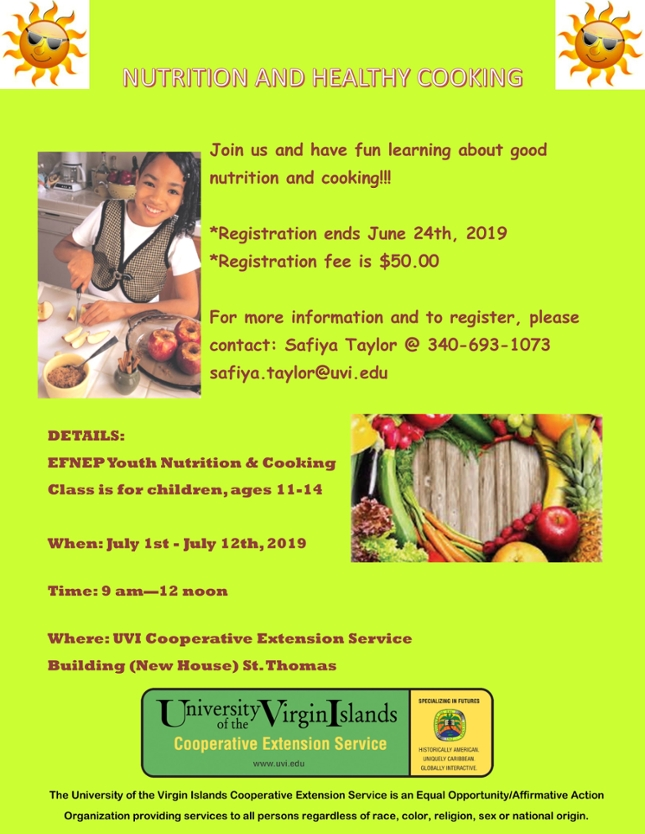 Summer Youth Cooking and Nutrition Class Flyer 2019