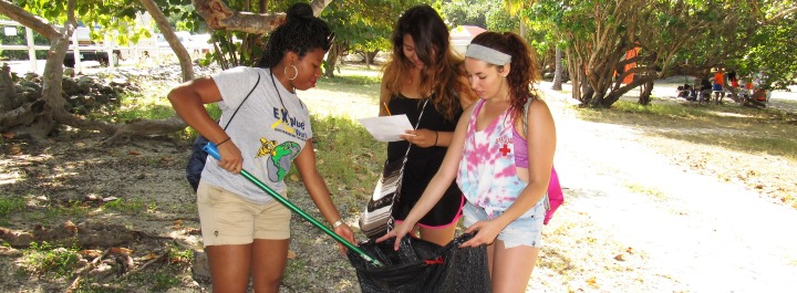 NSE students helping to keep Brewers Bay clean.