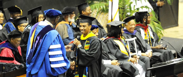 Commencement ceremonies occur annual in May.