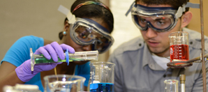 UVI students conduct experiments on the University's Albert A. Sheen Campus.
