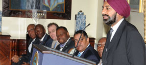 University of the Virgin Islands officials announcement gift at VI Government House