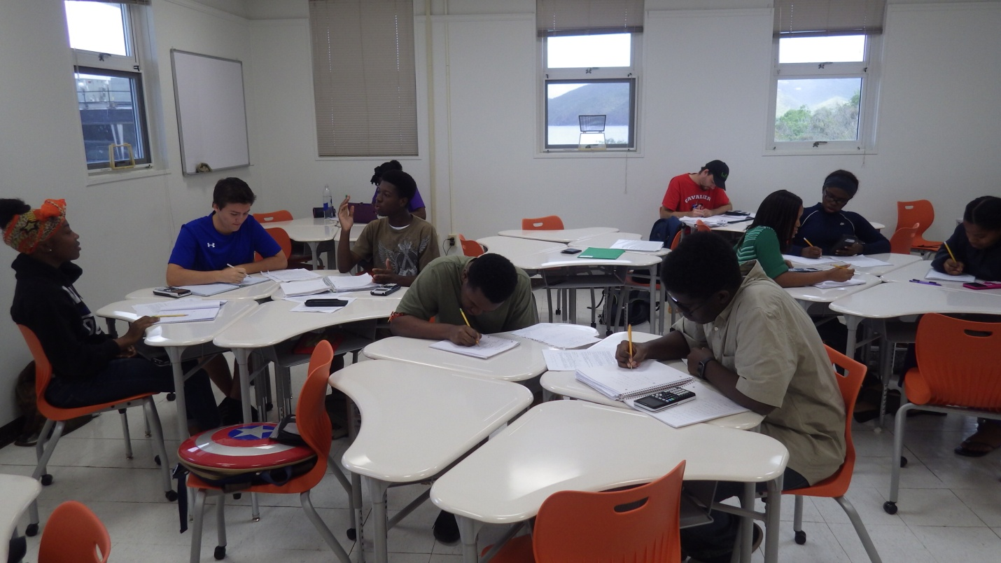 Students studies in class