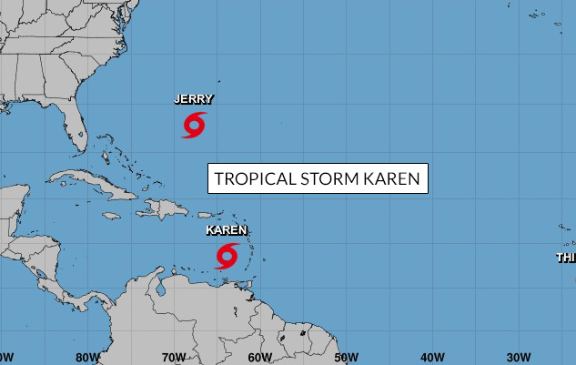 Track of Tropical Storm Karen