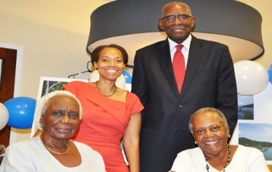 "STJ_Land_Donation_Samuels: (from right) Gloria Samuel and Marva Samuel Applewhite, who donated land in St. John to UVI, pose with heirs of their father James Alphonso ""Harry"" Samuel, who owned Estate Zootenvaal."