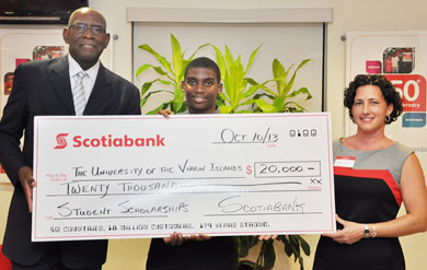 Scotiabank USVI donates $20,000 for student scholarships at the University of the Virgin Islands.