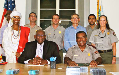 UVI President David Hall and National Park Service Superintendent Joel Tutein signed the MOU in the newly renovated National Park Service offices