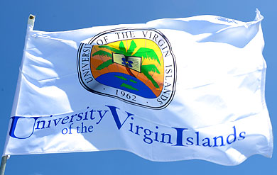 University of the Virgin Islands logo on a flag