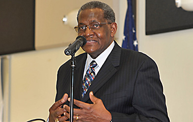 Dr. George Cooper speaks at UVI Pride Week event on the Albert A. Sheen Campus on St. Croix.
