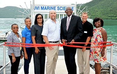 UVI administrators cut ribbon at dock opening ceremony