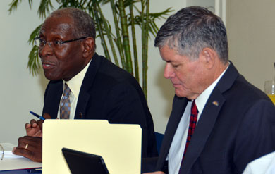UVI President David Hall and UVI Board of Trustees Chair Henry Smock