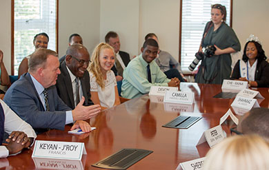 Danish Prime Minister, Lars Løkke Rasmussen speaks to UVI President and students about new scholarship program