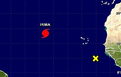 map with hurricane Irma location