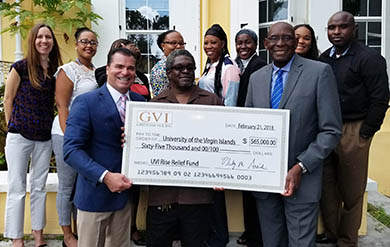 Photo represents Check Presentation to UVI by Greenleaf VI in 2018