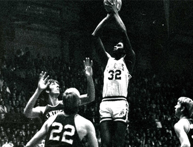 President Hall at the height of his Jump Shot at Kansas State University