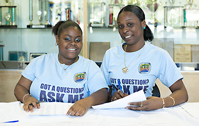 University of the Virgin Islands Students offer their assistance at Orientation.