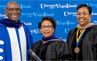 President David Hall, Former U.S. A.G. Loretta Lynch and Board of Trustee vice-chair, Oran Roebuck