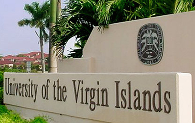 Signage of the University of the Virgin Islands Albert A. Sheen Campus on St. Croix