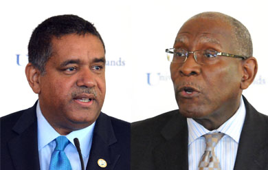Virgin Islands Gov. John P. de Jongh Jr. and UVI President Dr. David Hall.