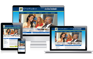 UVI responsive website with Cascade Server website content management system