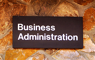 Image of School of Business building sign