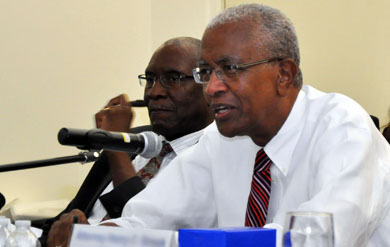UVI Board of Trustees Chairman Alexander Moorehead and UVI President David Hall