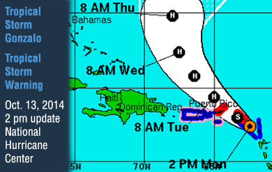 tropical storm gonzalo tracking map